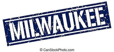 Milwaukee blue square stamp