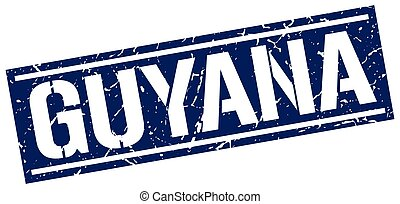 Guyana blue square stamp