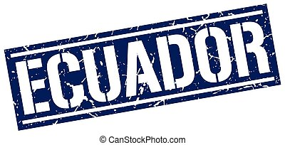 Ecuador blue square stamp
