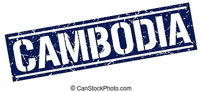 Cambodia blue square stamp