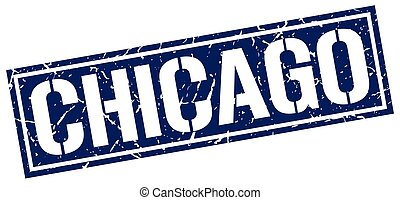 Chicago blue square stamp