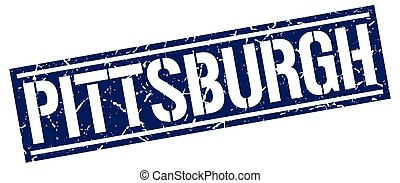 Pittsburgh blue square stamp