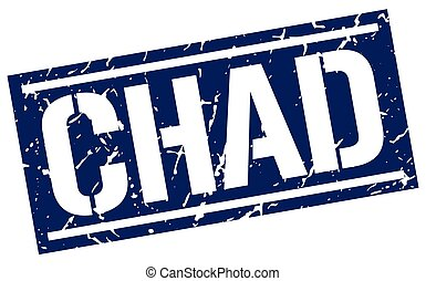 Chad blue square stamp