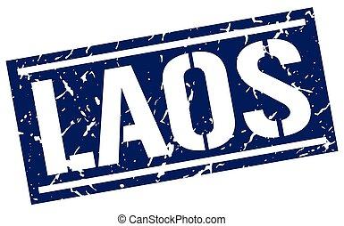Laos blue square stamp