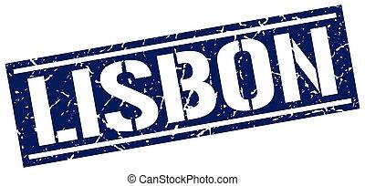 Lisbon blue square stamp