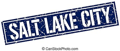 Salt Lake City blue square stamp