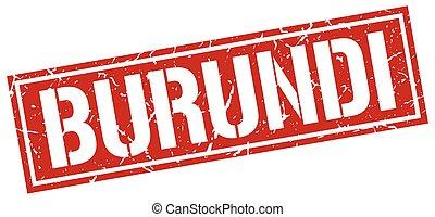 Burundi red square stamp
