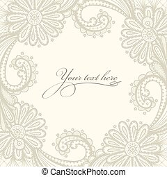 Lace vector design. Old lace background, ornamental flowers....