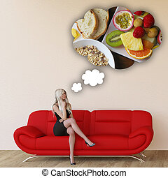 Woman Craving Breakfast and Thinking About Eating Food