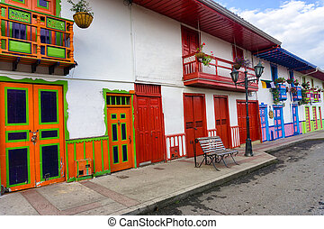 Colorful Colonial Architecture - Bright colorful colonial...