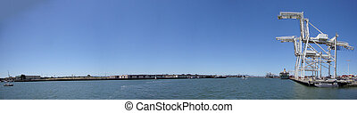Oakland Harbor seen from Jack London Square - Panoramic of...