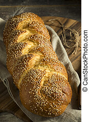 Homemade Sesame Challah Bread Ready to Eat