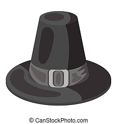 Pilgrim hat icon in monochrome style isolated on white...
