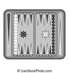 Backgammon icon in monochrome style isolated on white...