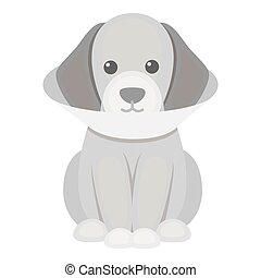 Sick dog vector icon in monochrome style for web