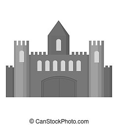 Castle icon monochrome. Single building icon from the big...