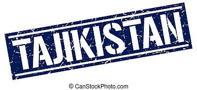 Tajikistan blue square stamp