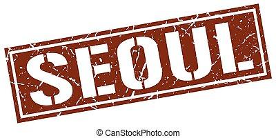Seoul brown square stamp