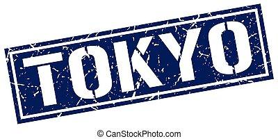 Tokyo blue square stamp