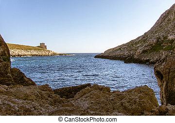 Gozo Xlendi Bay - View out of Xlendi Bay on Gozo