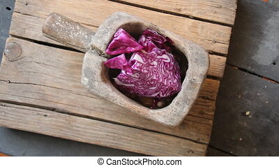 Healthy food. Portion of Red Coleslaw on vintage wooden...