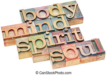 body, mind, spirit and soul concept in wood type