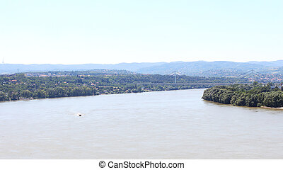 View of the Serbian city of Novi Sad and the bridge over the...