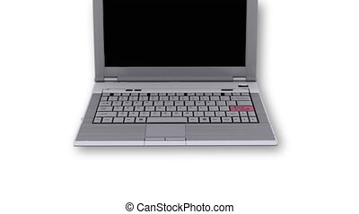 Laptop with SOS key flashing - Laptop with SOS key - White...