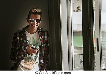 móvil, Chica descocada, ventana, hogar, teléfono