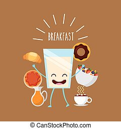 delicious and nutritive breakfast character vector...