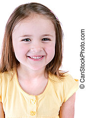 smiling girl - one cute young smiling girl isolated over...