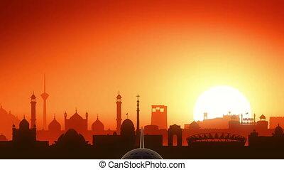 Delhi India Airplane Take Off Skyline Golden Background -...