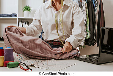 woman working in the sewing and dressmaking