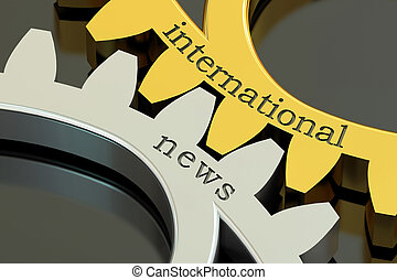 international news concept on the gearwheels, 3D rendering