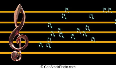 Treble clef and musical notes moving - High-tempo - Music -...
