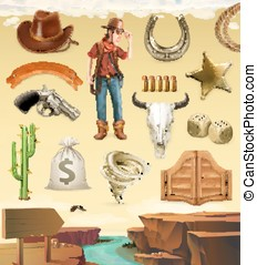 Cowboy cartoon character and objects. Western adventure. 3d...