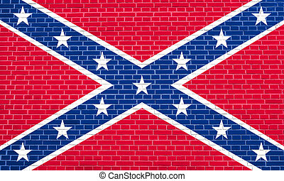 Confederate rebel flag on brick wall texture - National flag...