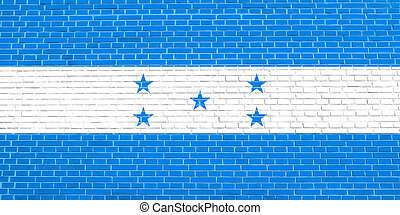 Flag of Honduras on brick wall texture background - Honduran...
