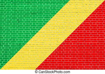 Flag of the Congo Republic on brick wall texture - Congo...