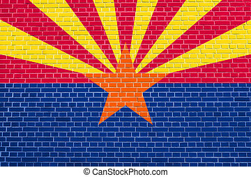 Flag of Arizona on brick wall texture background - Arizonian...