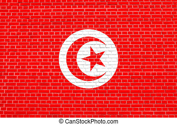 Flag of Tunisia on brick wall texture background
