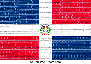 Dominican Republic flag on brick wall texture - Dominican...