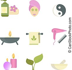 Spa beauty body care vector icons - Spa beauty and body care...