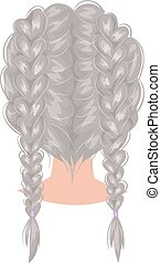 Vector woman hairstyle back view - Vector design of...