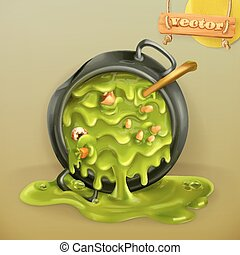 Witch Kitchen. Pot with a potion. Halloween 3d vector icon