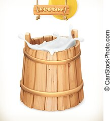 Wooden bucket. Milk. Rustic style. Natural dairy products....