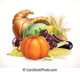 Horn of plenty. Harvest fruits and vegetables. Cornucopia....