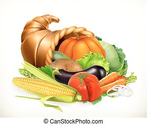 Horn of plenty. Harvest vegetables. Cornucopia. 3d vector...