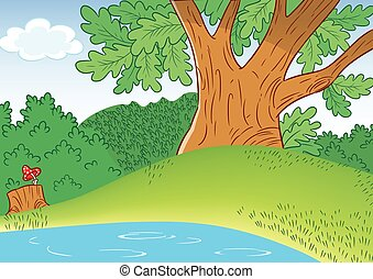 cartoon small lake - The illustration shows a portion of a...