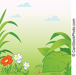 cartoon summer glade - Green background with leaves and...